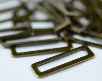 100 Pieces Antique Brass 6x19 mm Rectangular  Findings
