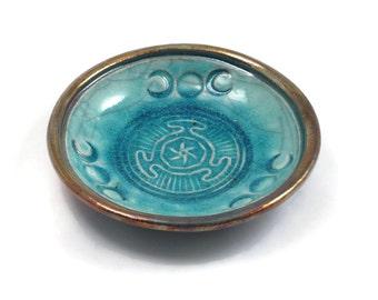 Hekate's Wheel Raku Bowl in Turquoise-Goddess-Hecate