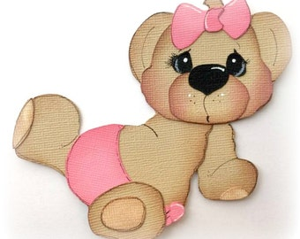 baby girl with pink bow and diaper bear paper piecing by my tear bears kira