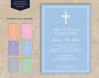 Beautiful Traditional Pastel Colour Baptism Invitation
