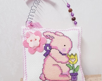 Cross Stitch Hanging Pillow Gift Decor Birthday Multiple Designs & Colours Square Handmade