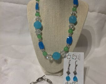 Tropical Turquoise Green Beaded and Silver Necklace Earring Bracelet Jewelry Set Handmade On Sale!