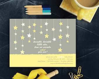 Yellow Twinkle, Twinkle Little Star Gender Reveal Shower Invitation, Gender Neutral Baby Shower Invitations, Yellow Stars Invitation