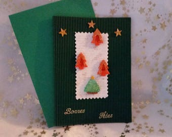 """Double green corrugated card and """"Tree"""" handmade sheet and envelope"""