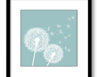 INSTANT DOWNLOAD Steel Blue White Dandelion Printable Art Print Wall Decor Bathroom Bedroom Custom Modern Miminimalist Flower Nursery