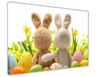Easter Bunnies and Eggs On Framed Canvas Prints Kids Pictures Wall Art Decor Children's Room