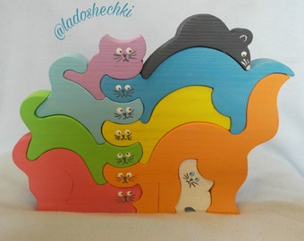 Wooden puzzle cats - wooden toys - puzzle zoo animals - childrens puzzle - wooden pyramid - childrens gift - Educational toy - Wooden cats