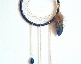 Small Cresent Moon Dream Catcher - Gold - Moon - Dream Catcher - Mobile - Decoration - Home Decor - Dark Blue