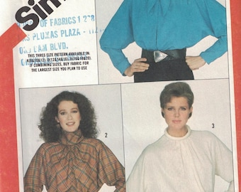 6070 Simplicity Misses Sewing Pattern UNCUT Pullover Dolman Sleeve Blouse 16 18 20 1980s