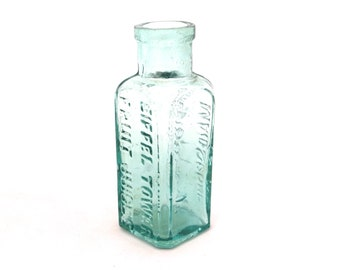 Antique Aqua Glass Bottle, Foster Clark Maidstone, Eiffel Tower, Vintage Bottle, Aqua Glass Apothecary Bottle, Antique Drink Bottle