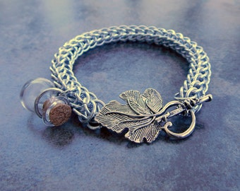 Custom Chainmail Bracelet with Bottle Charm and Leaf Toggle Clasp - Bright Aluminum