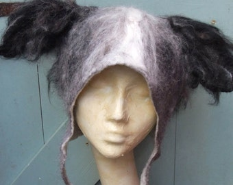 Personalised Dog Hair Hat for dog lovers, hand felted Blue Merle Collie, natural wool felt blended with dog hair for pet portrait momento
