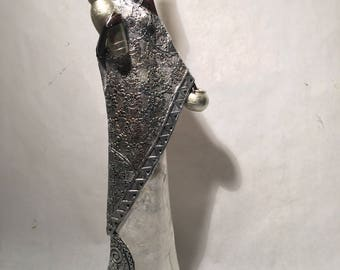 Silver African Woman Statue - Kenyan Tribal Art Doll Figurine Sculpture Home Decoration