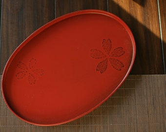 Red Wood Base Japanese Lacquerware Tea Tray