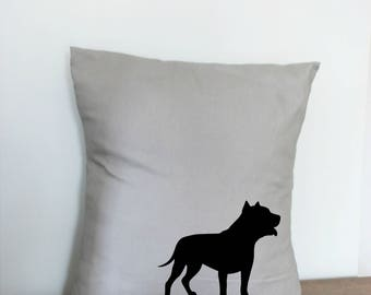 Pit Bull Pillow Cover MADE TO ORDER Grey and Black