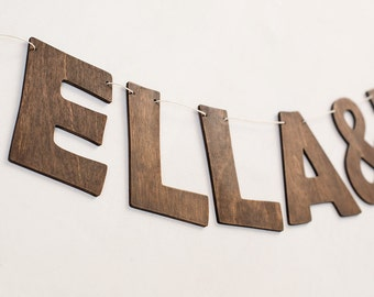 Wooden banner - custom banner - rustic garland - name garland - wedding garland - rustic banner - wedding banner - personalized wood banner