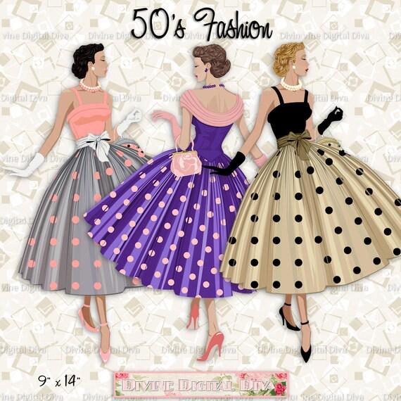 12 Mode der 50er Jahre Damen Polka Dot Kleid Licht Hautton