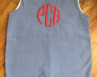 Personalized Monogrammed Boys Jon Jon Shortall, Navy Gingham with Fabric Covered Buttons