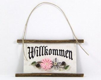 Quilled Magnet -351- Willkommen - German Welcome, Kitchen Decor, Party Favor, Pink and Grey Decor