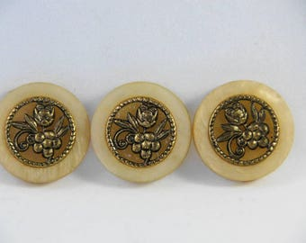 Vintage faux marble and antiqued gold buttons, jacket buttons, large buttons, vintage buttons, for crafts or clothing construction