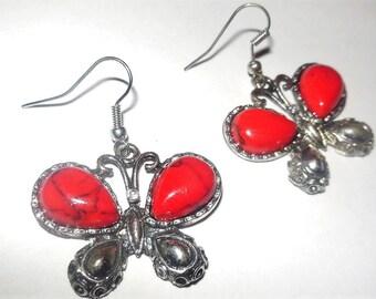 Earrings Butterfly Red Stone