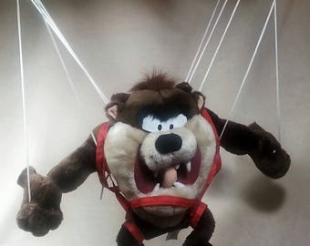 "20"" Taz Tasmanian Devil Plush Toy Hang Gliding w Parachute Backpack"
