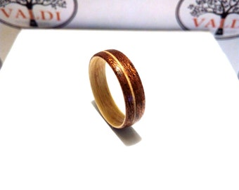 Wooden Ring. Bentwood Ring. Handcrafted Wooden Ring. Walnut and Maple wood.