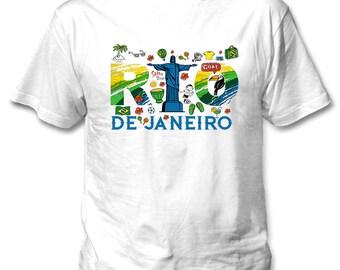 Rio de Janeiro Brazil 3 - Man new cotton white t-shirt
