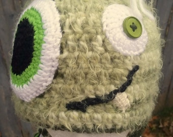 Crochet Monster Hat - Silly Hat with flaps and tassels - Fuzzy crochet hat