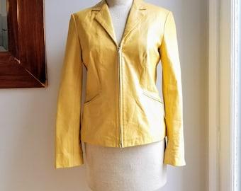 "90s Ann Taylor Yellow Leather Jacket/Yellow Leather Blazer/Yellow Biker Jacket/Saffron/Marigold/Sunshine/Size S/23""Long/36""Chest/18""Sleeve"
