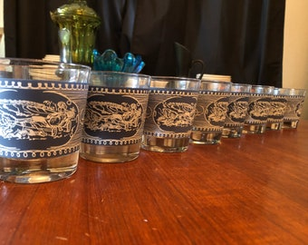 Set of Eight (8) Vintage 1950s Currier and Ives Blue and White Rocks Glasses