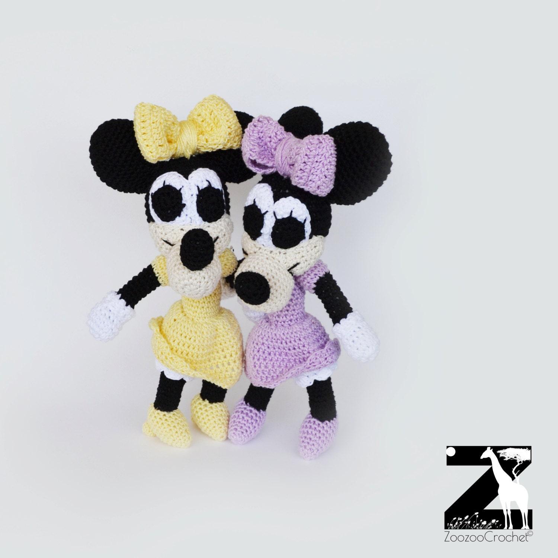 Minnie Mouse muñeca mano muñeca de ganchillo amigurumi hecho