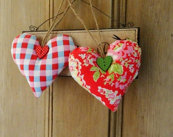 2 Cath Kidston fabric door hangers gingham paisley rose shabby chic vintage style