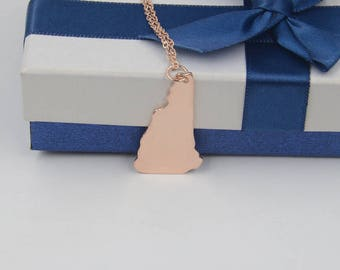 New Hampshire state necklace-rose gold state necklace-custom any state-Personalized gift for women