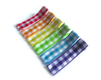 6 Rainbow Hair Clips Gingham Hair Clips Rainbow Gingham Red Orange Yellow Lime Green Turquoise Blue Purple Baby Hair Clips Baby Girl