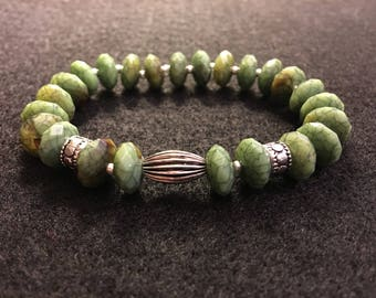 Olive Green & Silver Beaded Stretch Cord Bracelet - Beaded Bracelet - Bracelet - Stretch Cord Bracelet