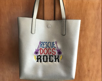 Embroidered Lined Tote Bag, Dog Lover, Rescue Dog