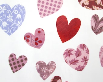 Glass decal ~ waterslide decals, fused glass ceramics, ideal coasters mugs plates, permanent transfer, patchwork hearts large sheet, wedding
