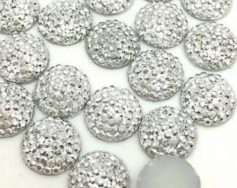 Round Silver embellishments 10pcs   I68