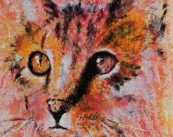 "Orange Cat portrait, beautiful large soulful eyes. Calico Cat.  A decorative CERAMIC TILE wall  art  - 10"" x 8"".  Free U.S. shipping."