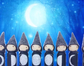 moon phase peg dolls, Waldorf toy,  Montessori toy, moon gnomes with wool hats