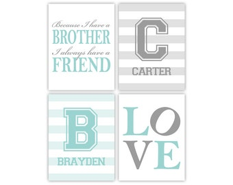 brother quotes | twin boys nursery art print | because I have a brother | brothers initial wall art | boys room decor | boys playroom art