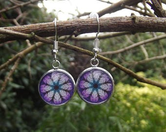 Earrings cabochon allegory Parma violet
