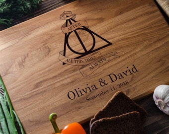 Harry Potter Personalized Cutting Board Personalized Custom Cutting Board Wedding Gift Cutting Board Deathly Hallows Harry Potter harry11