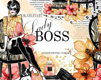 Handpainted Clipart Lady Boss Clipart Planner Clipart Beauty Blog Planner Girl Boss Chanel Illustration Gute Dog  Girly Planner Supplies DIY
