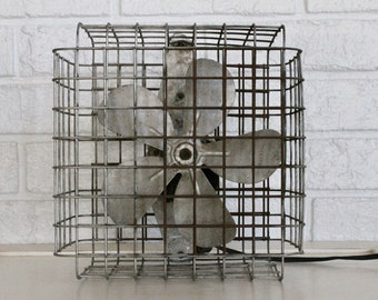 Vintage Metal Fan, McLarty Industrial Bird Cage Fan Model 200, 1950s
