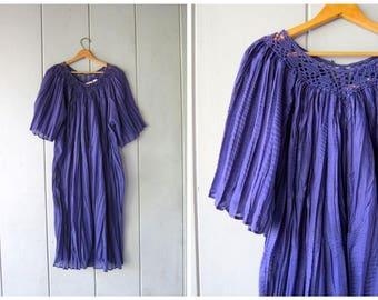 Vintage Poly Gauze Dress Purple Grecian Thin Sheer Festival Dress Cutwork Beach Caftan Bohemian 80s 90s Midi Goddess Dress Womens OS