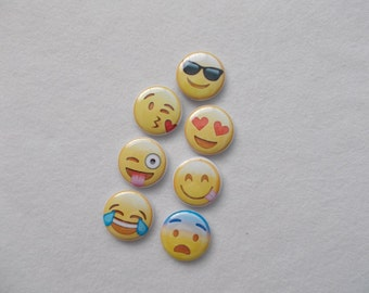 Smiley face Emoji buttons favors Backpack pins Fun buttons for everyone 7- Flat Back Buttons or 7-1 in. pins or 7-magnets or 7shoelace back