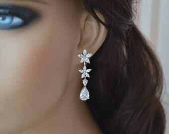 Bridal Earrings, Cubic zirconia Earrings, zirconia jewelry.prom.
