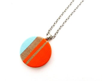 Painted wood pendant necklace, geometric necklace, graphic jewelry, neon orange and blue necklace